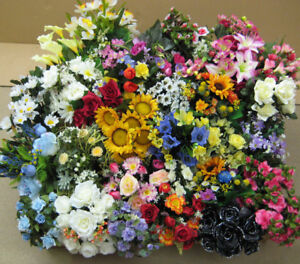 Wholesale Job Lot Artificial Silk Flowers Mixed Arrangements Bushes