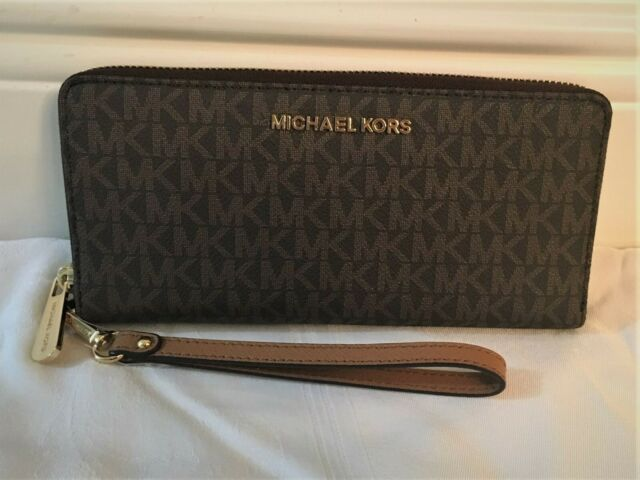 Michael Kors Jet Set Travel Monogram Zip Around Travel Wallet Wristlet Brown