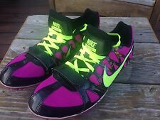 Nike Zoom Rival S 6 Volt Track Spikes Purple Neon Yellow Women 10.5 Runs Small 9