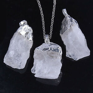 Charm-Silver-Plated-Rock-Quartz-Crystal-Stone-Random-Form-Pendant-Jewelry