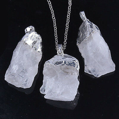 Charm Silver Plated Rock Quartz Crystal Stone Random Form Pendant Jewelry