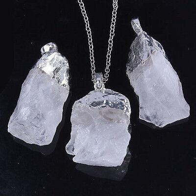 Charm Silver Plated Rock Quartz Crystal Stone Random Form Pendant Jewelry