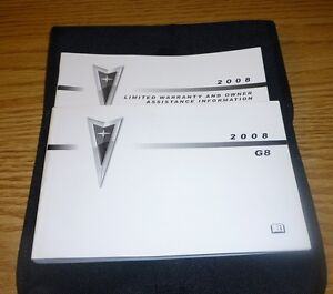 2008 pontiac g8 owners manual 08 set guide case ebay rh ebay com Pontiac G8 Interior 2008 pontiac g8 owner's manual