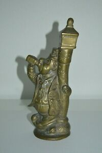 Vintage-brass-figurine-of-a-drunk-man-leaning-on-lamppost-10-039-039-tall