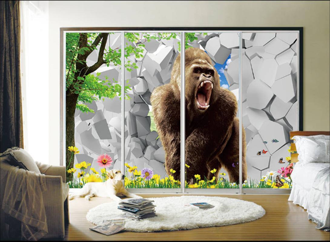 3D Ziegel Orang Utan 53 Tapete Tapeten Mauer Foto Familie Tapete Wandgemälde DE