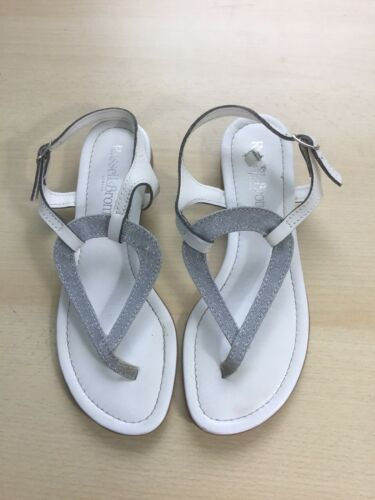 Silver 36 Bromley And Russell Size Flat Sandal White B0Bx45I