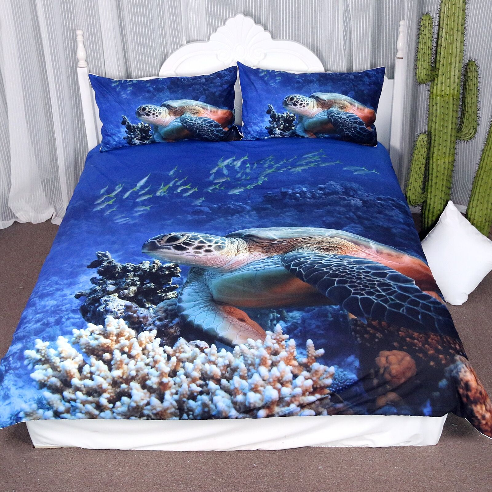 Arightex Turtle Bedding Sea bluee Duvet Cover Ocean 3d Corals Fishes Print for