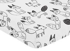 Fox Print Fitted Crib Or Toddler Sheet For Sweet Jojo Black & White Fox Bedding