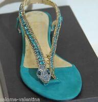 In Box Osvaldo Rossi Fabulous Rhinestones Emerald Women Shoes Size 7.5