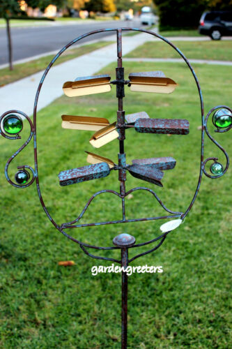 METAL WINDMILL FACEOFF WIND SPINNER YARD STAKE GARDEN STAKE YARD ART