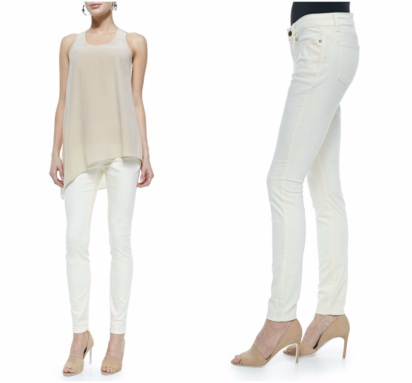 NWT Eileen Fisher Soft White Cotton Stretch Skinny Jeans Pants P 2 4 6 12 14  24