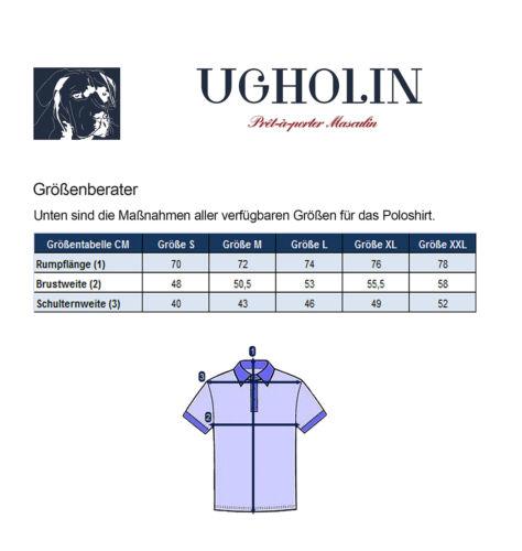 Ugholin Herren Poloshirt Gestreiftes Marine Baumwolle Jersey Kurzarm Polohemd