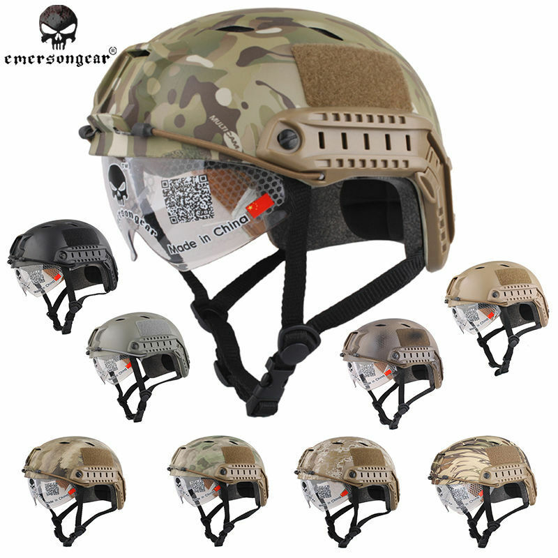 EMERSON FAST Helmet with Predective Goggles Airsoft Tactical Military Army BJ
