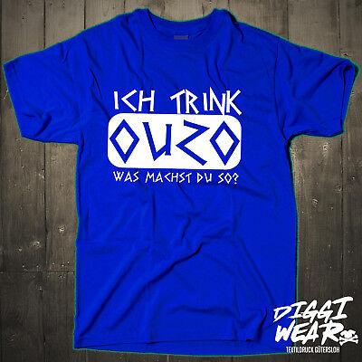 Ich trink OUZO was machst Du so Griechenland T-Shirt S-XXXL neu