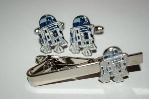 Star Wars R2D2 Gemelos y clip de corbata Conjunto de Regalo en Caja Esmalte de boda para hombre Sci Fi