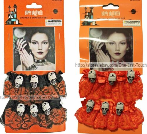 MOMENTUM BRANDS 2pc Choker /& Bracelet Set LACE+SKULLS Halloween *YOU CHOOSE* New