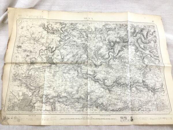 1882 Antik Französisch Landkarte Meaux Außen Paris Frankreich Alte 19th SorgfäLtige Berechnung Und Strikte Budgetierung