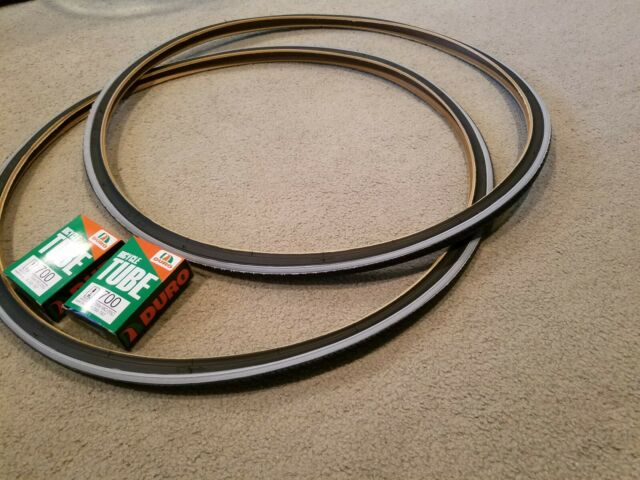 DURO 700x25C BICYCLE TIRES GRAY LINED /& 2 TUBES TWO 2 ROAD FIXIE TRAC BIKES