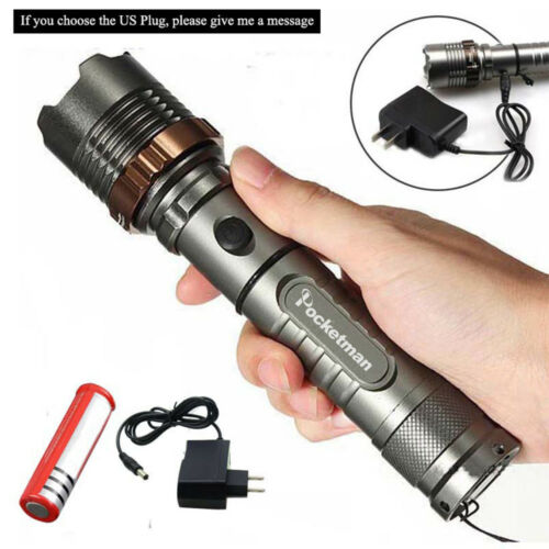 10000LM T6 LED Flashlight Zoomable Torch Lamp Police Tactical Light Battery