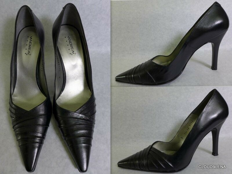 ANDREA Black  Leather Pointed toe  Drape detail Pump Shoes  toe Size 8 US ec3346
