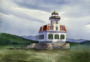Esopus Meadows Lighthouse Hudson River New York. Watercolor Notecards