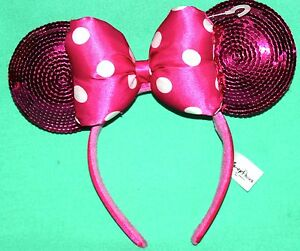 82cf5ad3a92 DISNEY PARKS MINNIE MOUSE PINK SEQUIN EARS HEADBAND POLKADOT BOW ONE ...