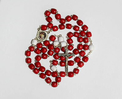 Gift Holy Card Franciscan Crown Rosary 7 Decade Wood Beads on Chain Handmade