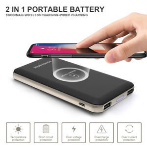2in1 Qi Wireless External Battery Charger 100000mah Power Bank FR iPhone Samsung