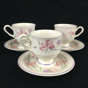 Set-of-3-VTG-Cups-and-Saucers-Sango-Windsor-Sangostone-Pink-Floral-3647-Korea