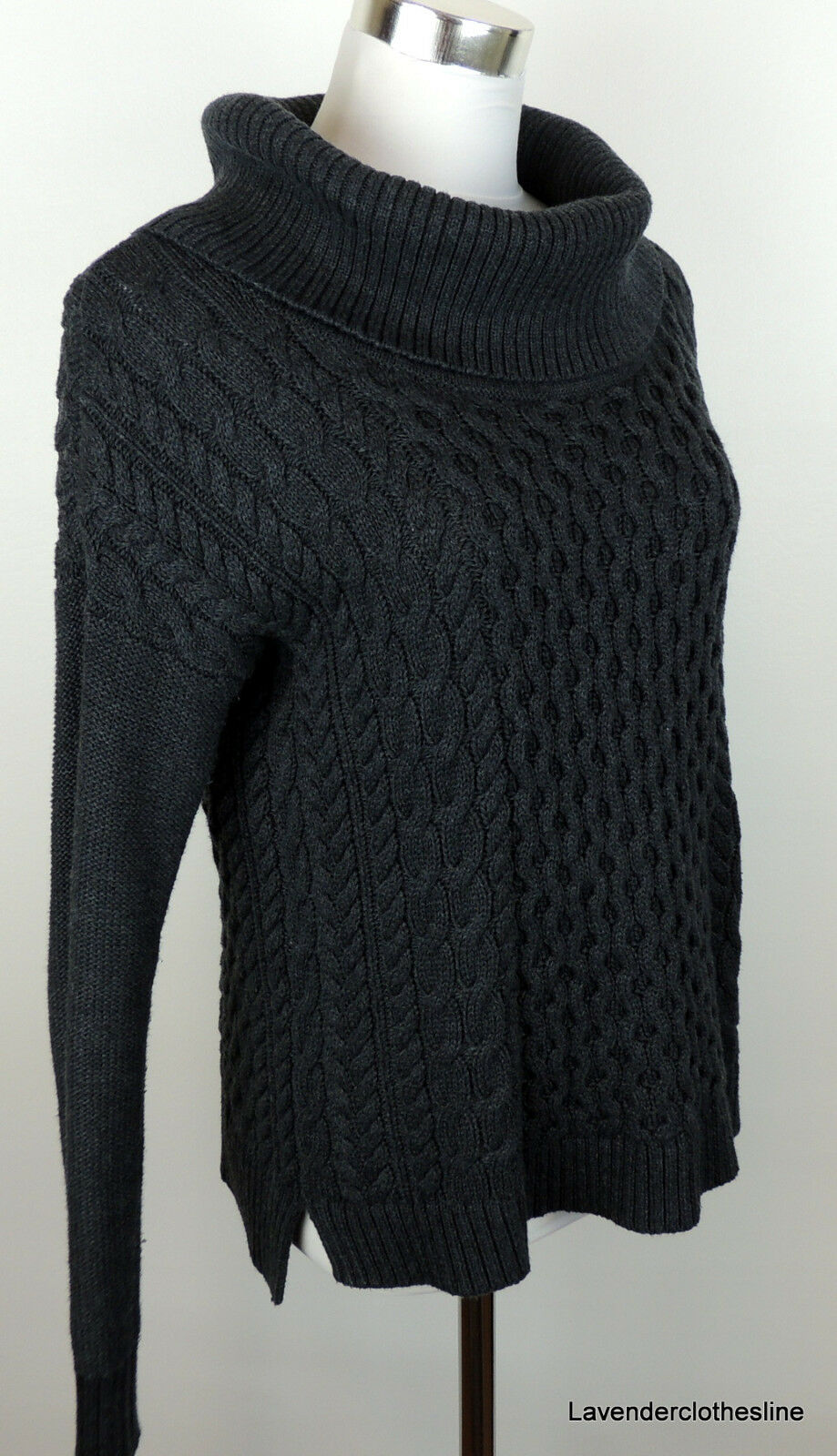 American Eagle Womens S Dark Gray Cowl Neck Fishermans Cable Knit ...