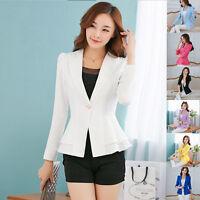 Women Fashion Casual Business Blazer One Button Slim Suit Jacket Coat Multicolor