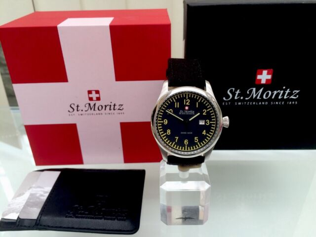 ROTARY ST.MORITZ SWISS MADE Mens Watch Military style Black Canvas strap RRP£280