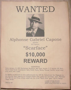 Al Capone Wanted Poster Scarface Gangster Outlaw Bank Robber f530f2064c5f