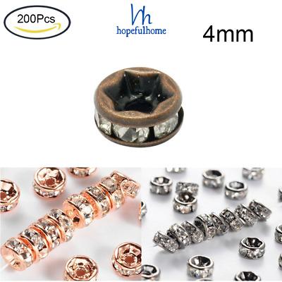 200Pcs 4mm Brass Rhinestone Spacer Beads Grade AAA Straight Flange Rondelle