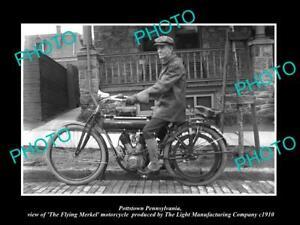 8x6 HISTORIC PHOTO OF POTTSTOWN PENNSYLVANIA THE FLYING MERKEL MOTORCYCLE c1910