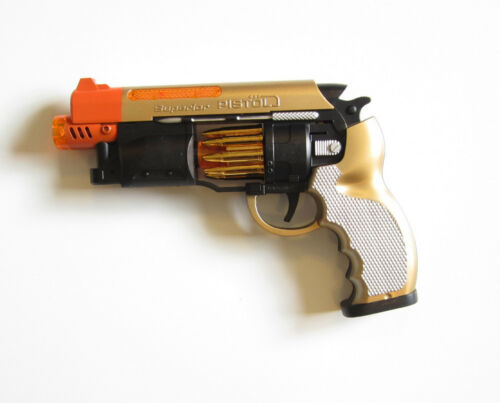 """4 NEW BATTERY OPERATED PISTOLS 9/"""" HANDGUN ACTION REVOLVER WITH LIGHTS AND SOUND"""