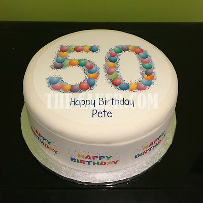Marvelous 50Th Birthday Balloons Pre Cut Edible Icing Cake Topper Or Ribbon Personalised Birthday Cards Bromeletsinfo