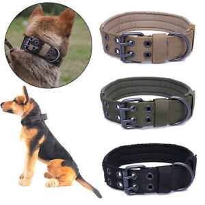Military-Tactical-Adjustable-Dog-Training-Collar-Nylon-Leash-w-Metal-Buckle