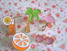 SET of 5 x Cute Flamingo Palm Tree Orange Drink Sunglasses Pin Badge Gifts