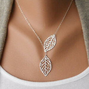 New-Women-Silver-Gold-Double-Leaves-Pendant-Chain-Necklace-Wedding-Jewelry-Gift