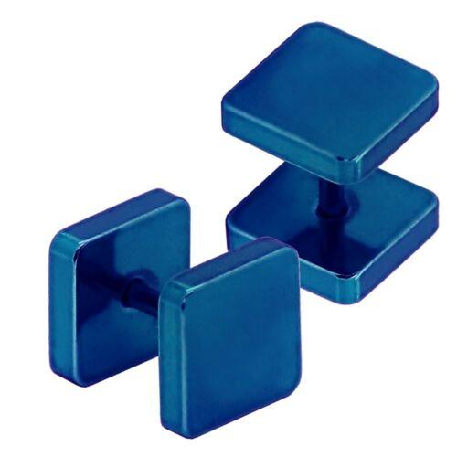 6 8 10 mm Fakeplugs Tunnel Piercing Plug Ohrstecker Ohrringe Viereckig Quadrat