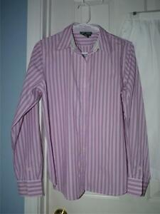 WOMEN-039-s-Ralph-Lauren-Striped-PINK-Long-sleeve-Button-down-blouse-top-eu