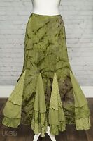 Per Una Long Green Lagenlook Flippy Hem Maxi Skirt 8 8l Steampunk Victorian