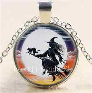 Witch-and-Black-Cat-Cabochon-Glass-Tibet-Silver-Chain-Pendant-Necklace-12I