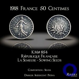 1918-France-50-Centimes-Silver-XF