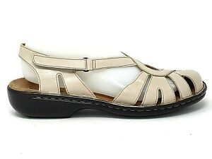Details about CLARKS Active Air Womens Beige Leather Slingback Closed Toe Sandals Shoes Size 8