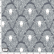 By 1/2 Yd Michael Miller Cotton Fabric ~ Eyes on Ewe Main Print in Gray