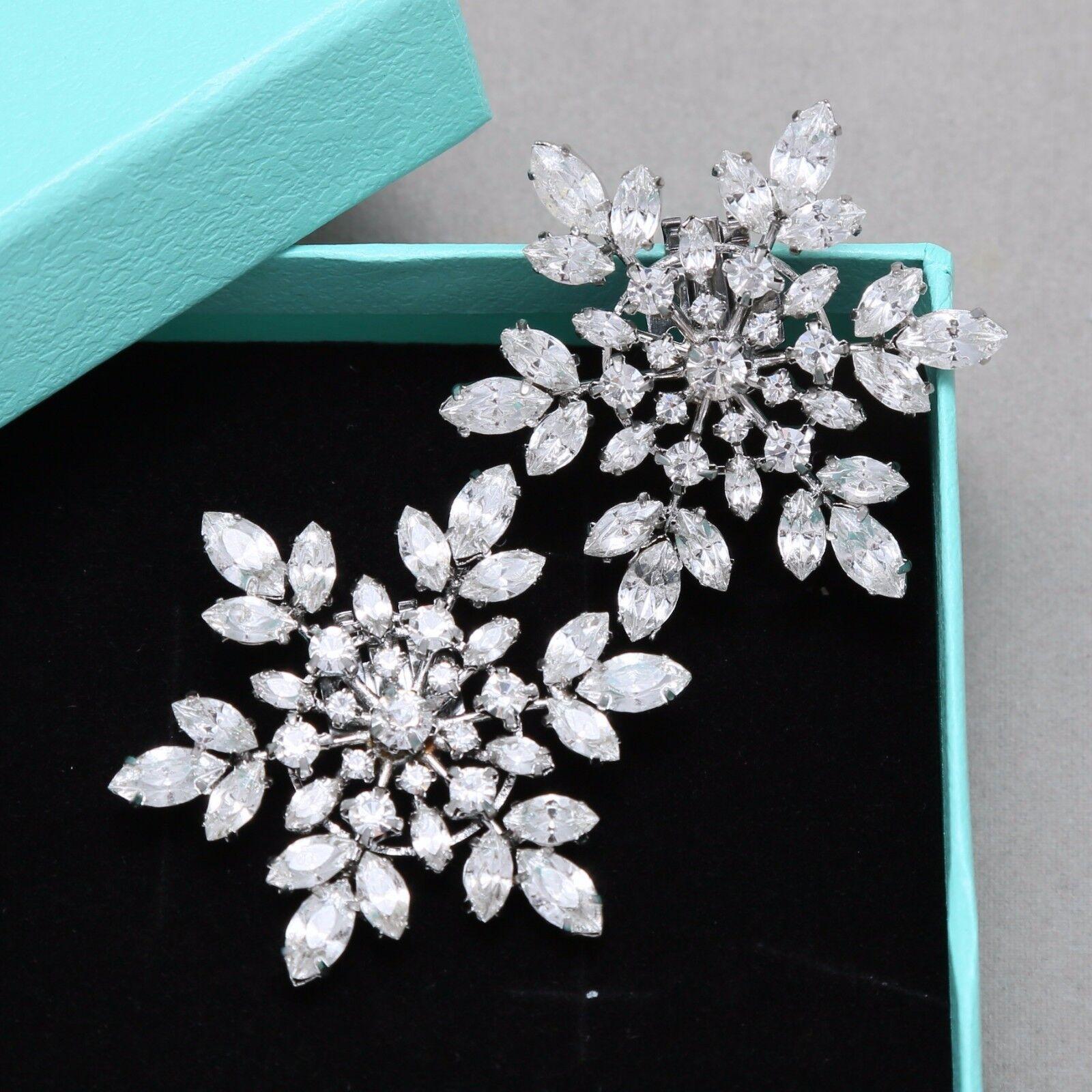 Snowflake Diamante Rhinestone Bridal High Heel Boots Shoe Clips Decoration Pair
