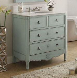 Details About 34 Shabby Chic Blue Daleville Distressed Bathroom Sink Vanity 081 Lb