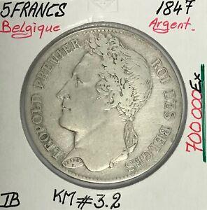BELGIQUE-5-FRANCS-1847-Piece-de-Monnaie-en-Argent-TB